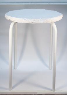 Jesmonite stool prototype using glacier forming technique.