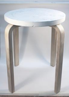 Jesmonite stool prototype using glacier dying technique.