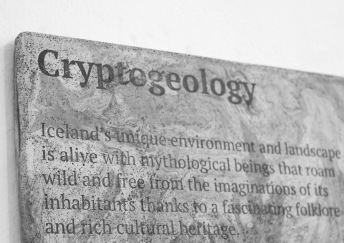 Cryptogeology glacier-cast pigmented jesmonite exhibition information panel.