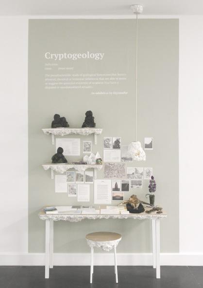 Cryptogeology display at Bath Spa University Degree Show.